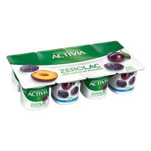 Iogurte Ameixa Zero Lactose Activia ZeroLac Bandeja 800g 8 Unidades