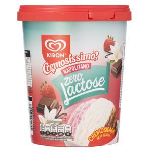 Sorvete Napolitano Zero Lactose Kibon Cremosíssimo Pote 800ml