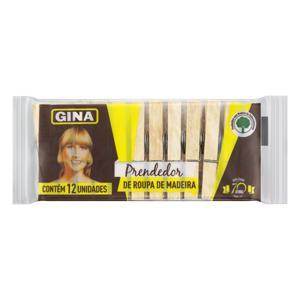 Prendedor de Roupa Madeira Gina 12 Unidades