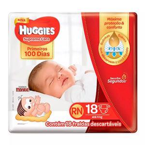 Fralda Descartável Infantil Huggies Supreme Care Recem Nascido pacote c/ 18 unidades