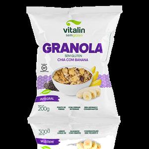 Granola Chia e Banana sem glúten  ( 200g) Vegano