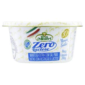 Manteiga Extra com Sal Zero Lactose Gran Mestri Lata 200g