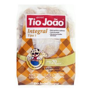 Arroz Parboilizado Tipo 1 Integral Tio João Pacote 1kg 8 Unidades
