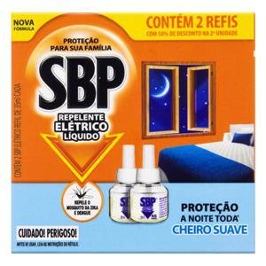Repelente Elétrico Líquido SBP Caixa 2 Unidades 35ml Cada Grátis 50% de Desconto na 2ª Unidade Refil