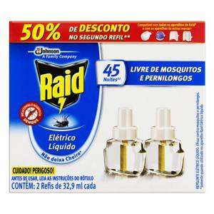 Repelente Elétrico Líquido 45 Noites Raid Caixa 2 Unidades 32,9ml Cada Grátis 50% de Desconto no Segundo Refil