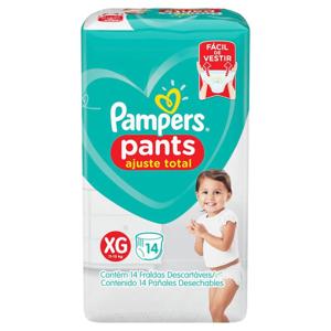 Fralda Descartável Infantil Pants Pampers Ajuste Total tam XG pacote c/ 14 Unidades