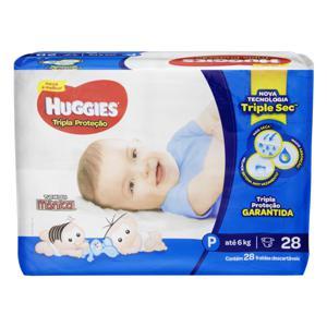 Fralda Descartável Infantil Huggies Tripla Proteção P Pacote 28 Unidades