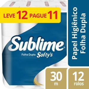 Papel Higiênico Sublime SOFTY´S 30Mx12 Rolos Folha Dupla Leve+Pague-
