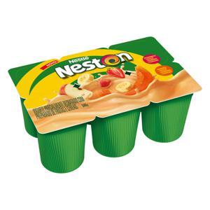 Iogurte Parcialmente Desnatado Morango, Maçã, Banana e Cereais + Mamão, Maçã, Banana e Cereais Nestlé Neston Bandeja 540g 6 Unidades