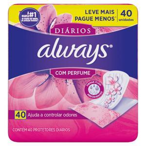Protetor Diário sem Abas com Perfume Always Pacote 40 Unidades Leve Mais Pague Menos