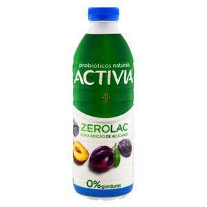 Leite Fermentado Desnatado Ameixa Zero Lactose Activia ZeloLac Garrafa 1kg