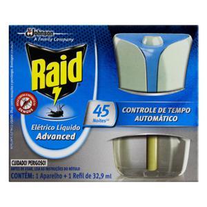 Kit Aparelho + Repelente Elétrico Líquido 45 Noites Raid Advanced 32,9ml Refil