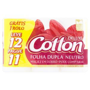 Papel Higiênico Folha Dupla Neutro Cotton Deluxe 30m Pacote Leve 12 Pague 11 Unidades