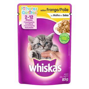 Alimento para Gatos Filhotes 2 a 12 Meses Frango ao Molho Whiskas Sachê 85g