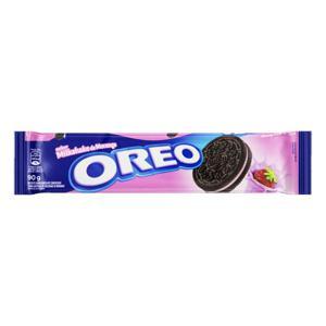 Biscoito Chocolate Recheio Milkshake de Morango Oreo Pacote 90g