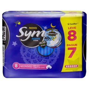 Absorvente com Abas Suave Noite e Dia Total Protect Sym Pacote Leve 8 Pague 7 Unidades