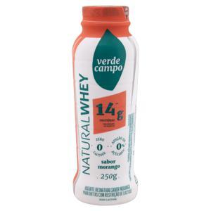 Iogurte Desnatado Morango Zero Lactose Verde Campo Natural Whey 14g de Proteína Frasco 250g