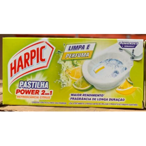 Patilha Sanitária Harpic 3x9g Power 2 em 1 Citrus