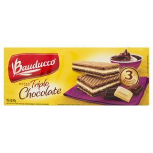 Biscoito Wafer Chocolate Recheio Triplo Chocolate Bauducco Pacote 140g