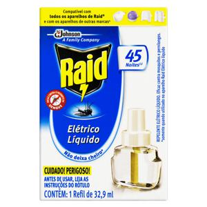 Repelente Elétrico Líquido 45 Noites Raid Caixa 32,9ml Refil