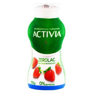 Leite Fermentado Desnatado Morango Zero Lactose Activia ZeroLac Frasco 170g