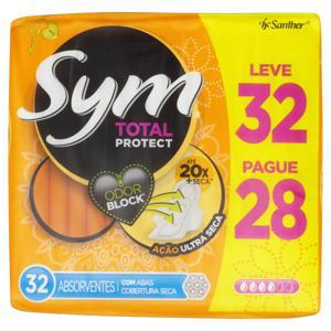 Absorvente com Abas Seca Total Protect Sym Pacote Leve 32 Pague 28 Unidades