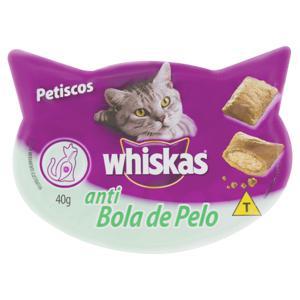 Petisco para Gatos Adultos Whiskas Anti Bola de Pelo Pote 40g