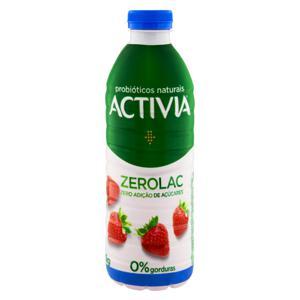Leite Fermentado Desnatado Morango Zero Lactose Activia ZeroLac Garrafa 1kg