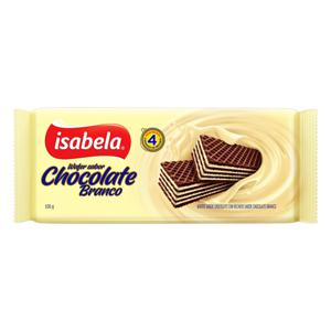 Biscoito Wafer Chocolate Recheio Chocolate Branco Isabela Pacote 100g