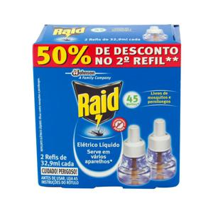 Inseticida Elétrico RAID Líquido 45 Noites 32,9ml com 2 Refil