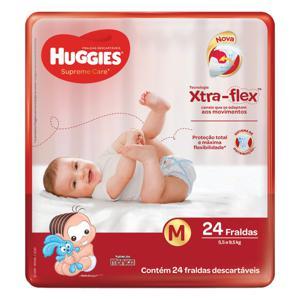 Fralda Descartável Infantil Huggies Supreme Care M Pacote 24 Unidades