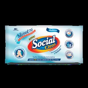 Toalhas Umedecidas 36Und Social Clean C/Alcool 70%