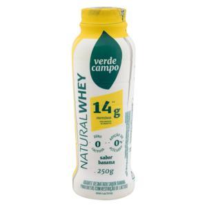 Iogurte Desnatado Banana Zero Lactose Verde Campo Natural Whey 14g de Proteína Frasco 250g