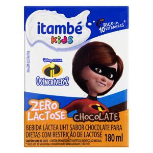 Bebida Láctea UHT Chocolate Zero Lactose Os Incríveis 2 Itambé Kids Caixa 180ml