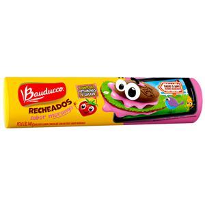 Biscoito Chocolate Recheio Morango Bauducco Pacote 140g