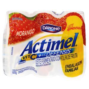 Pack Leite Fermentado Parcialmente Desnatado Morango Actimel Frasco 600g 6 Unidades