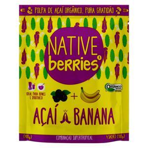 Polpa de Fruta Orgânica Açaí com Banana Native Berries Sachê 400g 4 Unidades