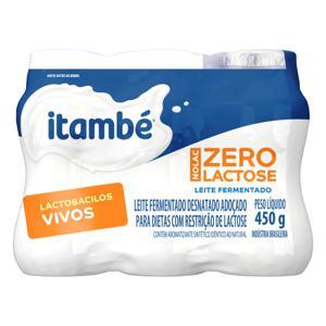 Pack Leite Fermentado Adoçado Desnatado Zero Lactose Itambé Nolac Frasco 450g 6 Unidades