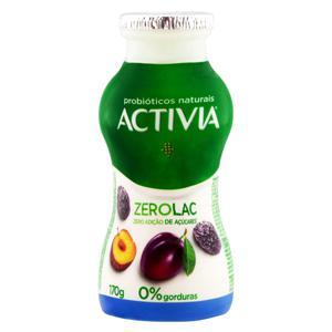 Leite Fermentado Desnatado Ameixa Zero Lactose Activia ZeroLac Frasco 170g