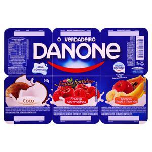 Iogurte Integral Frutas Sortidas Danone Bandeja 540g 6 Unidades