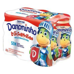 Pack Leite Fermentado Desnatado Baunilha Danoninho Frasco 450g 6 Unidades