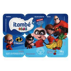 Iogurte Parcialmente Desnatado Morango + Salada de Frutas + Banana Os Incríveis 2 Itambé Kids Bandeja 540g 6 Unidades