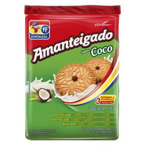 Biscoito Amanteigado Coco Fortaleza Pacote 330g Embalagem Econômica