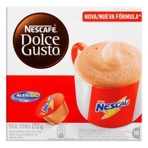 Composto Lácteo em Cápsula Chocolate Nescau Nescafé Dolce Gusto Caixa 272g 16 Unidades