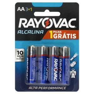 Pilha Alcalina AA Rayovac 4 Unidades 1,5V Grátis 1 Pilha