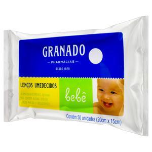 Lenço Umedecido Granado Bebê 20cm x 15cm Pacote 50 Unidades
