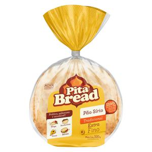 Pão Sírio Extrafino Tradicional Pita Bread Pacote 320g
