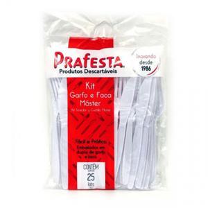 Kit PRAFESTA Garfo/Faca Master Branco 24 Unidades