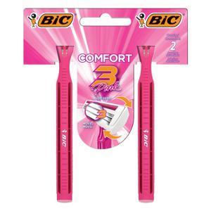Aparelho de Depilar Descartável Bic Comfort 3 Pink c/2 Unidades