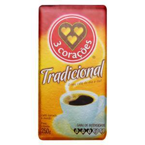 Café Torrado e Moído a Vácuo Tradicional 3 Corações Pacote 250g